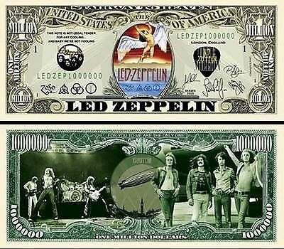 Led Zeppelin Million Dollar Bill Collectible Fake Play Funny Money Novelty Note