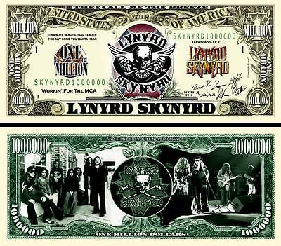 Lynyrd Skynyrd Million Dollar Bill Fake Funny Money Novelty Note + FREE SLEEVE