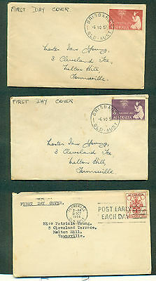 AUSTRALIA 1956-1957 Melbourne Olympics & First Xmas Stamps FIRST DAY COVERS (3)
