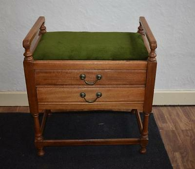 Antique Two Drawer Music Cabinet Piano Stool