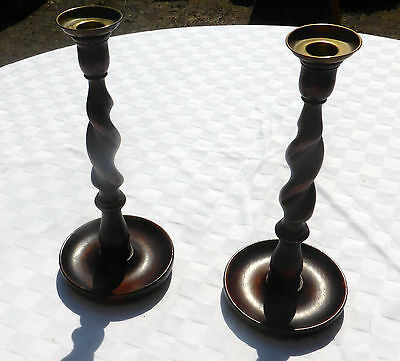 PAIR OF OAK BARLEY TWIST CANDLESTICK HOLDER / STANDS With BRASS TOP