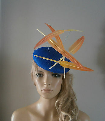 Blue/yellow/beret/fascinator//percher/hat/vintage/ascot/wedding/races/feather