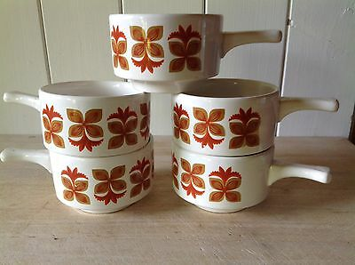 Vintage Retro 1970s Orange Staffordshire Potteries Soup Bowls With Handles