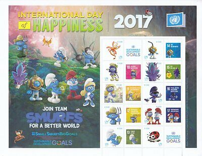 UN 2017 - International Day of Happiness Personalised Stamp Sheet - MNH