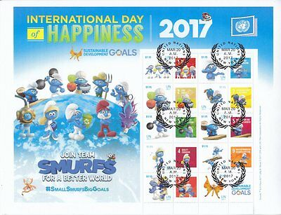 UN 2017 - International Day of Happiness Personalised Stamp Sheet - CTO,  MNH