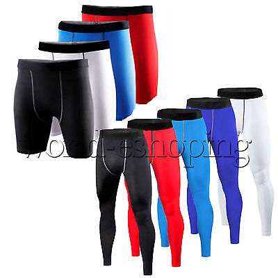 Mens Workout Athletic Pants Bottoms Stretchy Sports Compression Shorts Trousers