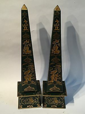 Chinese Style Green And Gilt Toleware Obelisks - Interiors Chic Country House