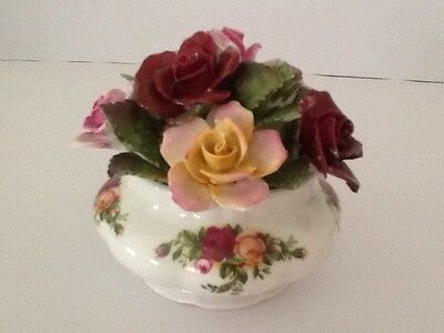 Rare Royal Albert Old Country Roses Pot Of Flowers - Mint-Made In England