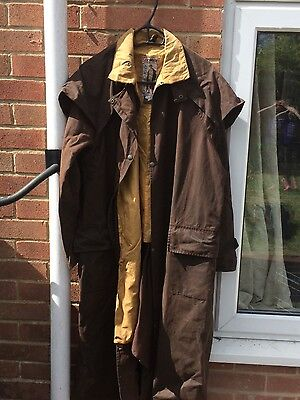 full length brown oilskin jacket