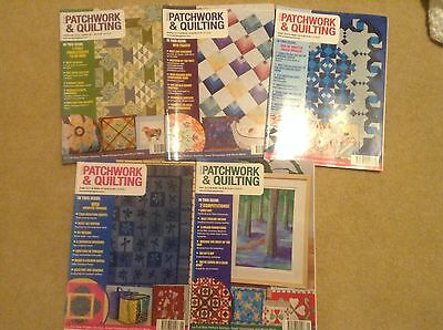 British Patchwork & Quilting Magazines x5 Quilt Making Templates