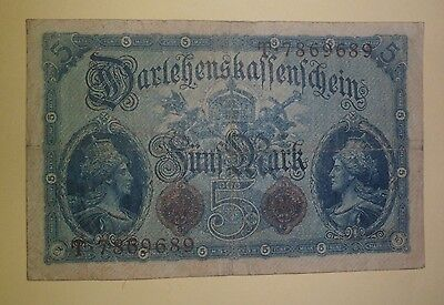 Ww1 German 5 Marks 1914 Banknote