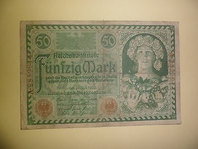 Pretty Girl 50 Mark German Banknote 1920