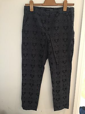 Navy Blue Jacquard Tailored Trousers Size 10