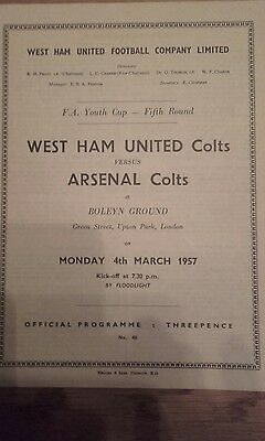 West Ham V Arsenal Colts Fa Youth Cup 5Th Round 1957.
