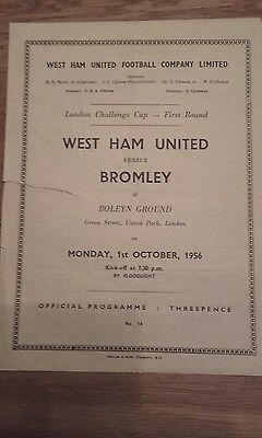 West Ham V Bromley London Fa Cup First Round 1956.