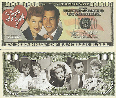 Lucille Ball of I Love Lucy Million Dollar Collectible Funny Money Novelty Note