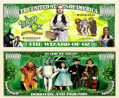 Wizard of Oz Million Dollar Bill Collectible Fake Play Funny Money Novelty Note