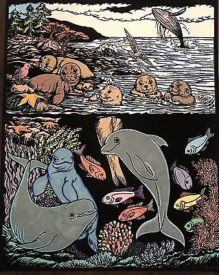 Vintage Black Velvet Paint Art Poster Starline Inc Ocean Otters Whales 16x20