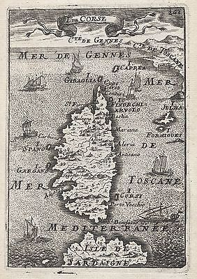 1683 Corsica 17th Century Copper Plate Engraved Map Mallet