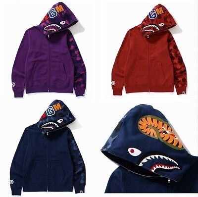A Bathing Ape 2017S/S 'Color Camo Shark Full Zip Hoodie' 3 Color M-XL NWT