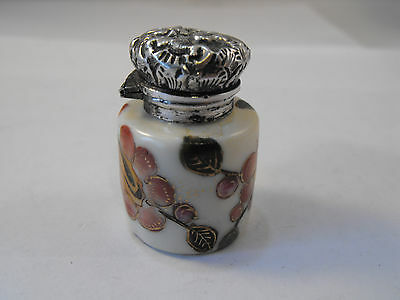 Victorian porcelain scent bottle with silver top