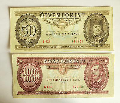 Two Hungarian banknotes 50 and 100 FORINT