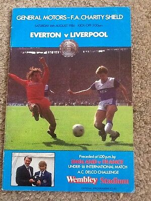 Everton V Liverpool Charity Shield Programme 1986