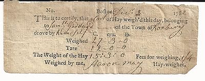 Early Boston Hay Weigher May Signs Revolutionary War-Date Receipt