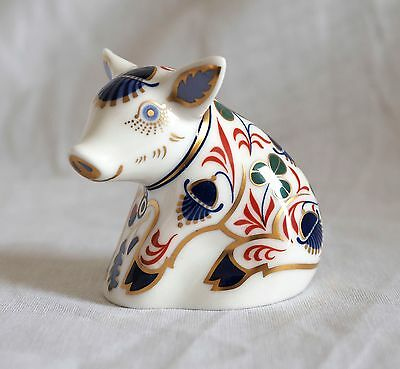 Royal Crown Derby Paperweight Pig with Gold Stopper - Excellent condition