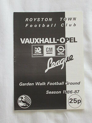 Football Programme Royston Town v  Arsenal Pre-Season 1986/87