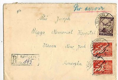 Poland Stamps: Vintage 1948 Cover # 3 to Ithaca, NY, USA