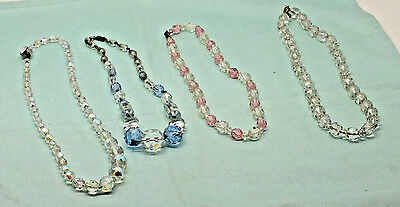 Lot of 4 Vintage 1950's Crystal glass Beads Necklaces FREE P&P