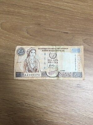 Cyprus £1 Banknote Pre Euro - Dated 2001