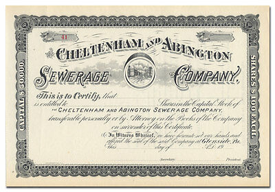Cheltenham and Abington Sewerage Company Stock Certificate (Pennsylvania)