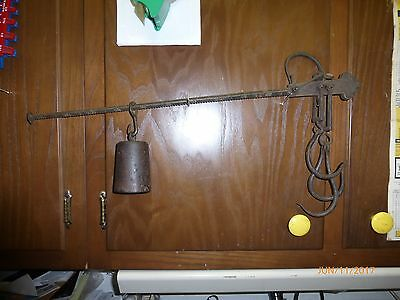 Antique Cast Iron Hanging Balance Beam Scale Lever Weight & Hooks