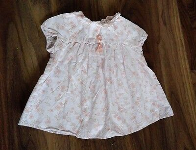 Jacadi Vintage Designer Floral Smock Top White Pink Bow Blouse Flower Dress 12M