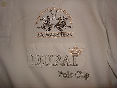 La Martina DUBAI Polo Player Hemd in weiß Gr.L  1/1 Arm Sticklogos