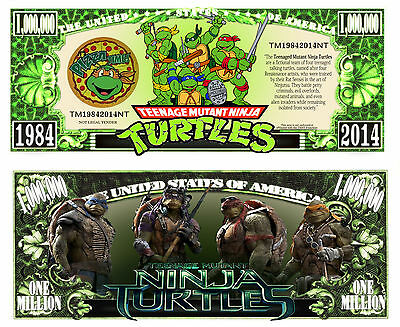 Teenage Mutant Ninja Turtles Million Dollar Collectible Funny Money Novelty Note