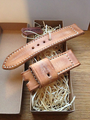 handmade vintage style watch band leather strap 24mm for panerai