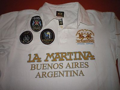 La Martina Argentina Style Polo Player Hemd in weiß Gr.L 1/1 Arm Sticklogos