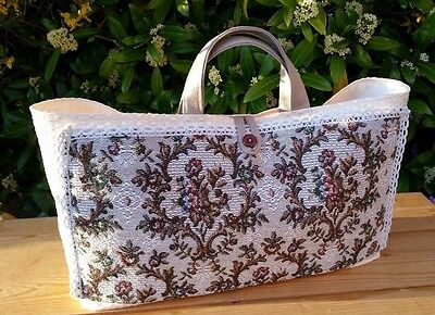 Knitting Bag with Tapestry Effect Pockets and Cream Lining, Hand Made
