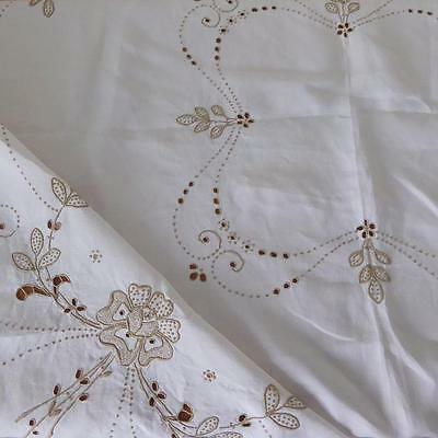 Vintage Embroidered Linen Madeira Style Tablecloth 41ins x 41ins