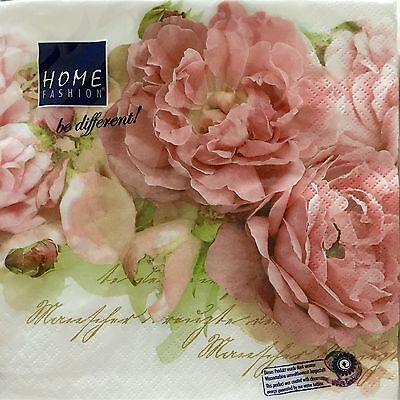 HOME Mary Roses Luxury Paper Napkins Pack Of 20 Made In Germany For Decoupage
