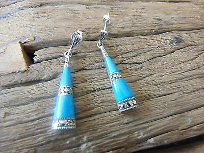 Silver 925 Turquoise & Marcasite Dangle Earrings