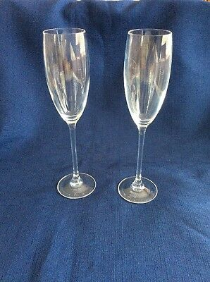Pair Of Crystal Millennium Champagne Flutes