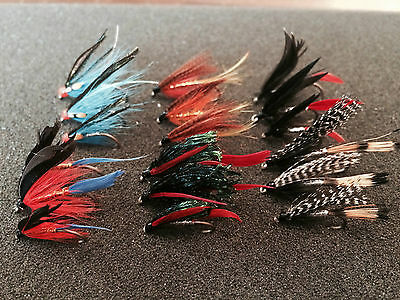 18 Mixed Sea Trout/Salmon Flies 6 Varieties Sizes 6, 8, 10