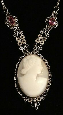 Antique Filigree Carved Cameo Collar/Choker Necklace - Sterling silver??