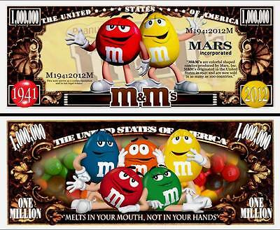 m&m's Candy Million Dollar Bill Fake Play Funny Money Novelty Note + FREE SLEEVE