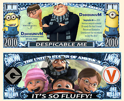 Despicable Me & Minions Million Dollar Bill Funny Money Novelty Note FREE SLEEVE