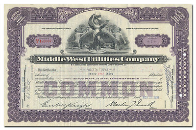 Middle West Utilities Company Stock Certificate, Printed Martin Insull Signature